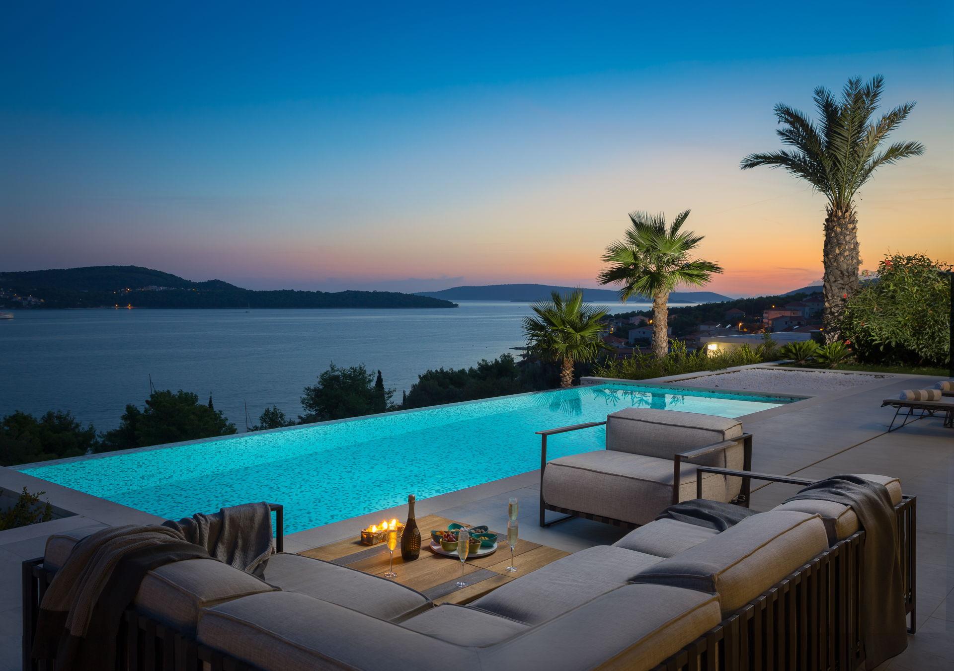 Infinity pool overlooking the sea and islands Ultraluxury Villa Elyzeum near Trogir in Croatia