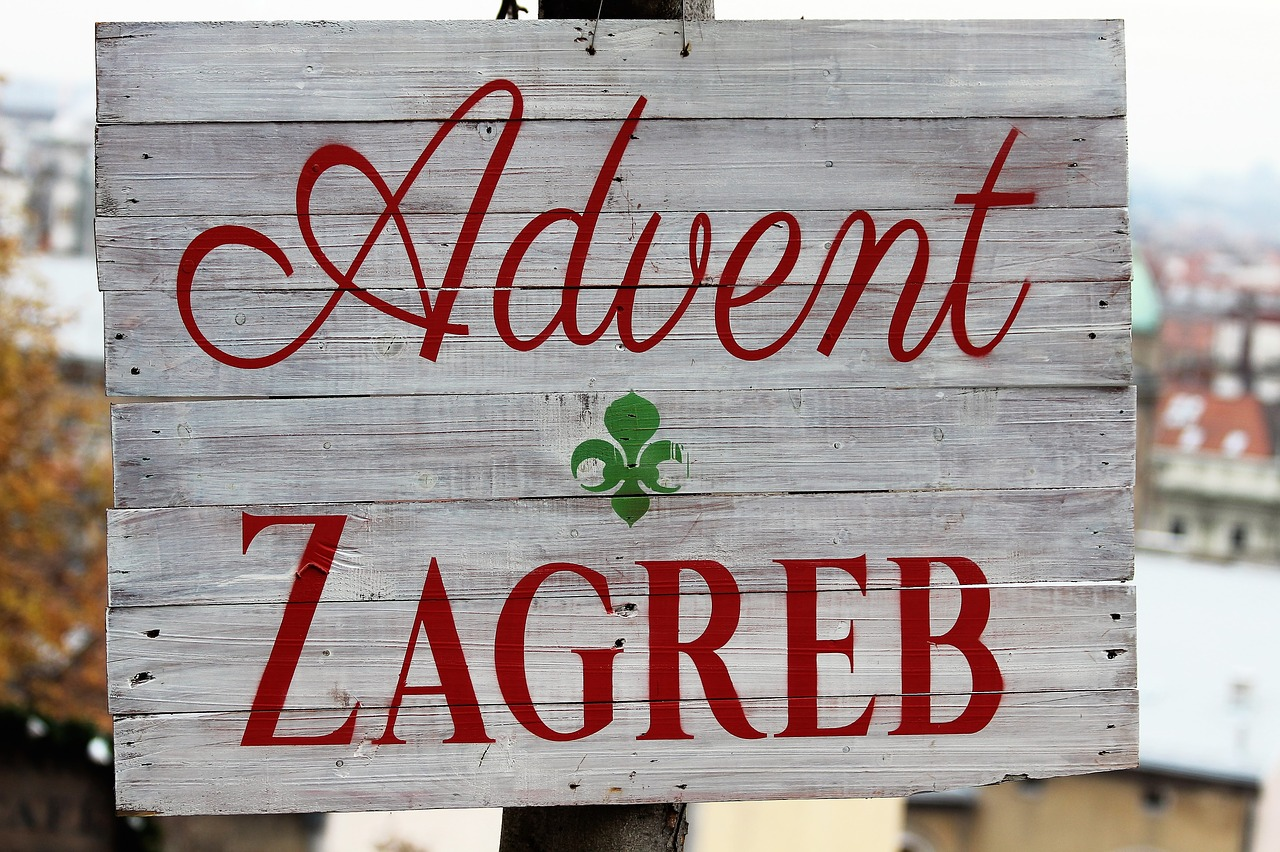Wooden sign Advent in Zagreb