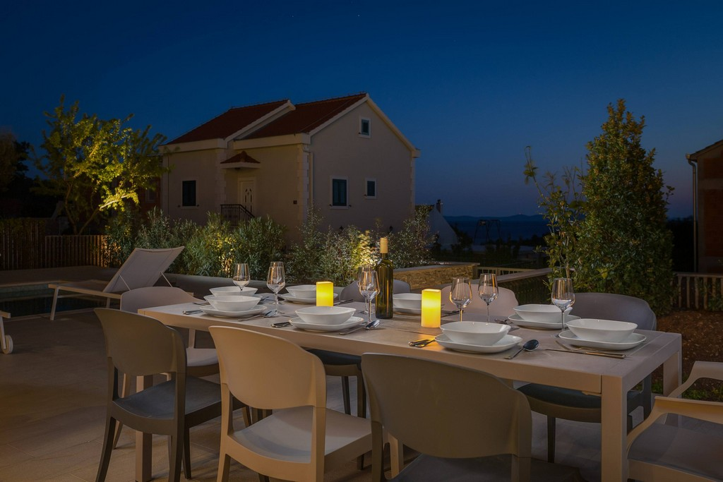 Al fresco dining place at Villa Romeo in Milna on Brac island in Croatia