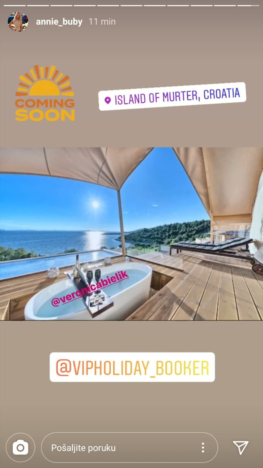 Annie Buby Instastory About coming to Croatia