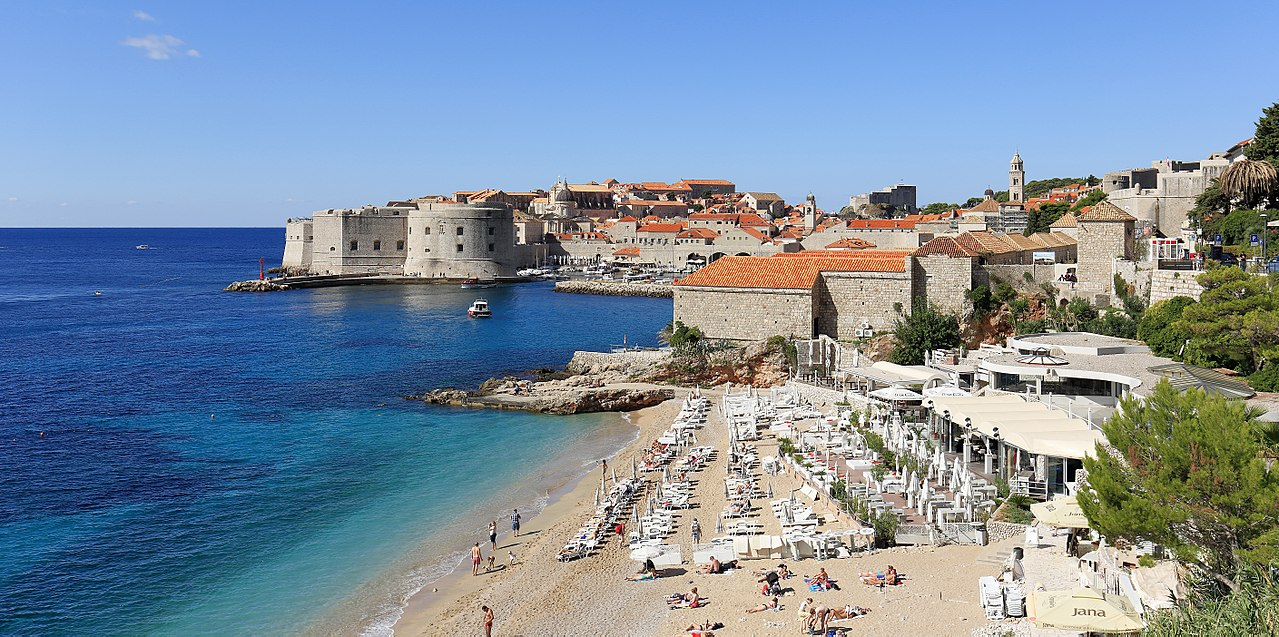 Banje beach in Dubrovnik View of the Old Town