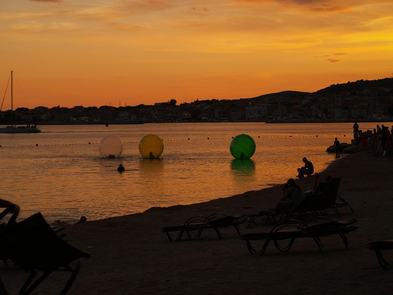 Sunset on Blue Beach in Vodice