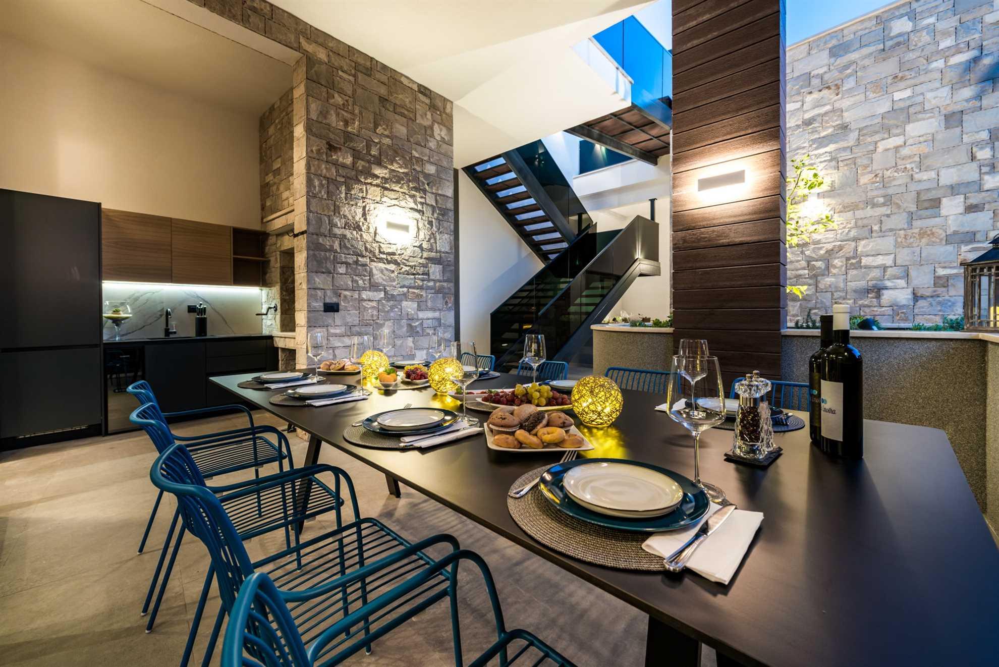 Dining Area in Luxury Villa Emotha with Pool on Korcula Island, Croatia
