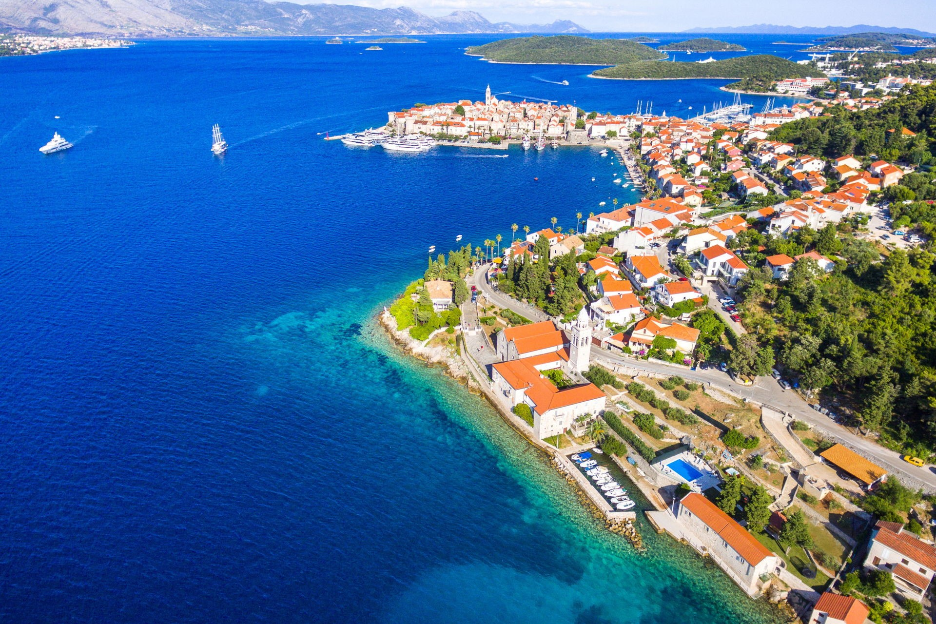 Island of Korcula from the air