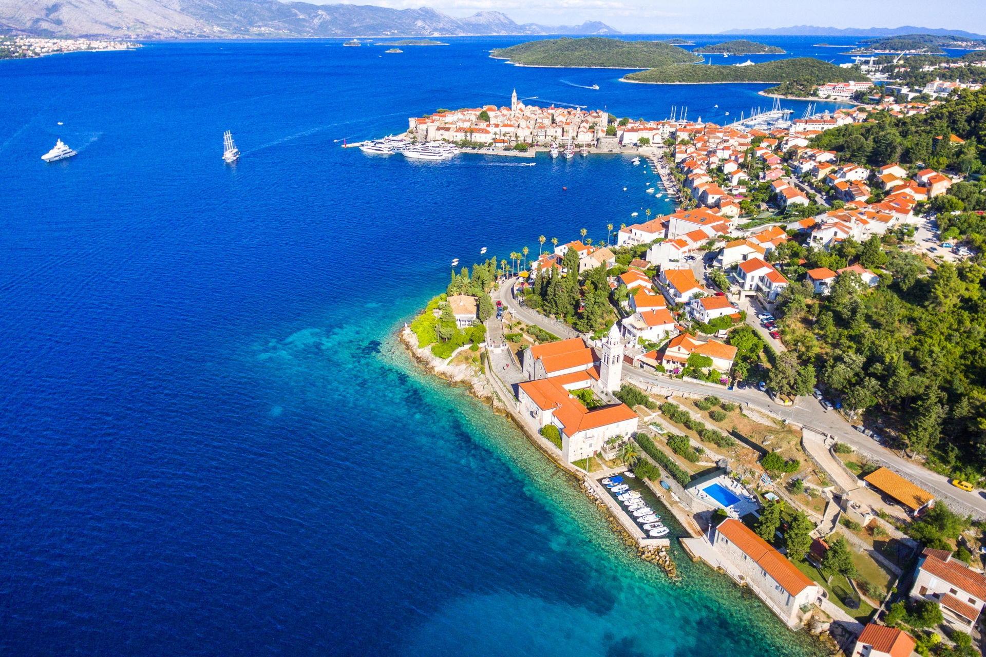 Insel Korcula aus der Luft