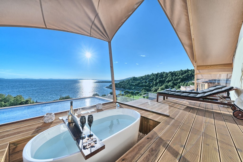 View from the Luxury Glamp in the New Horizons Resort on Murter in Croatia