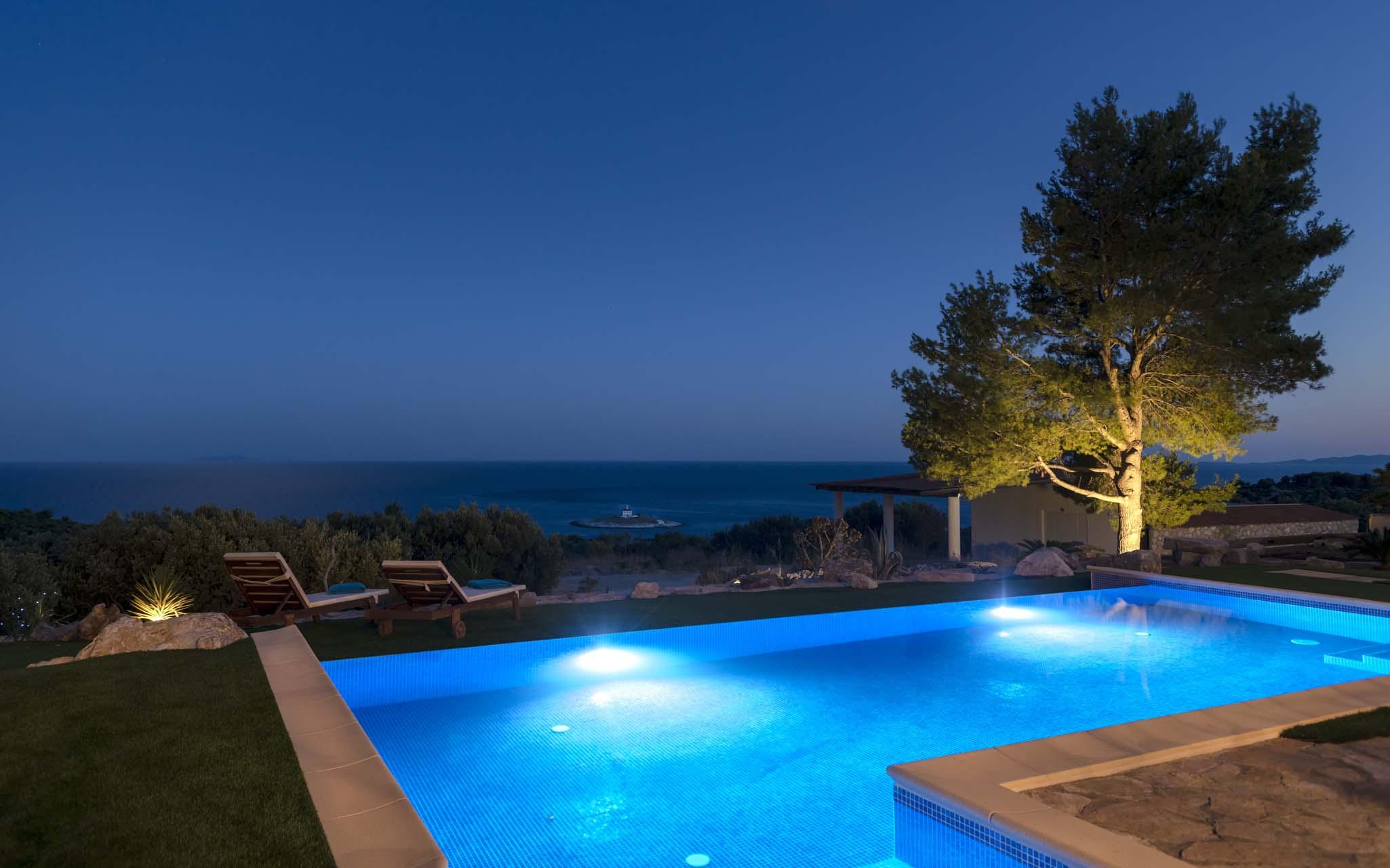 Ocean Seeker Villa Infinity Pool at night
