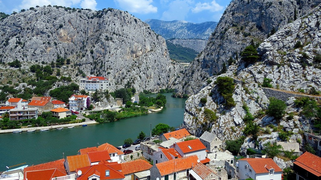 Omis in Croatia with Cetina river canyon