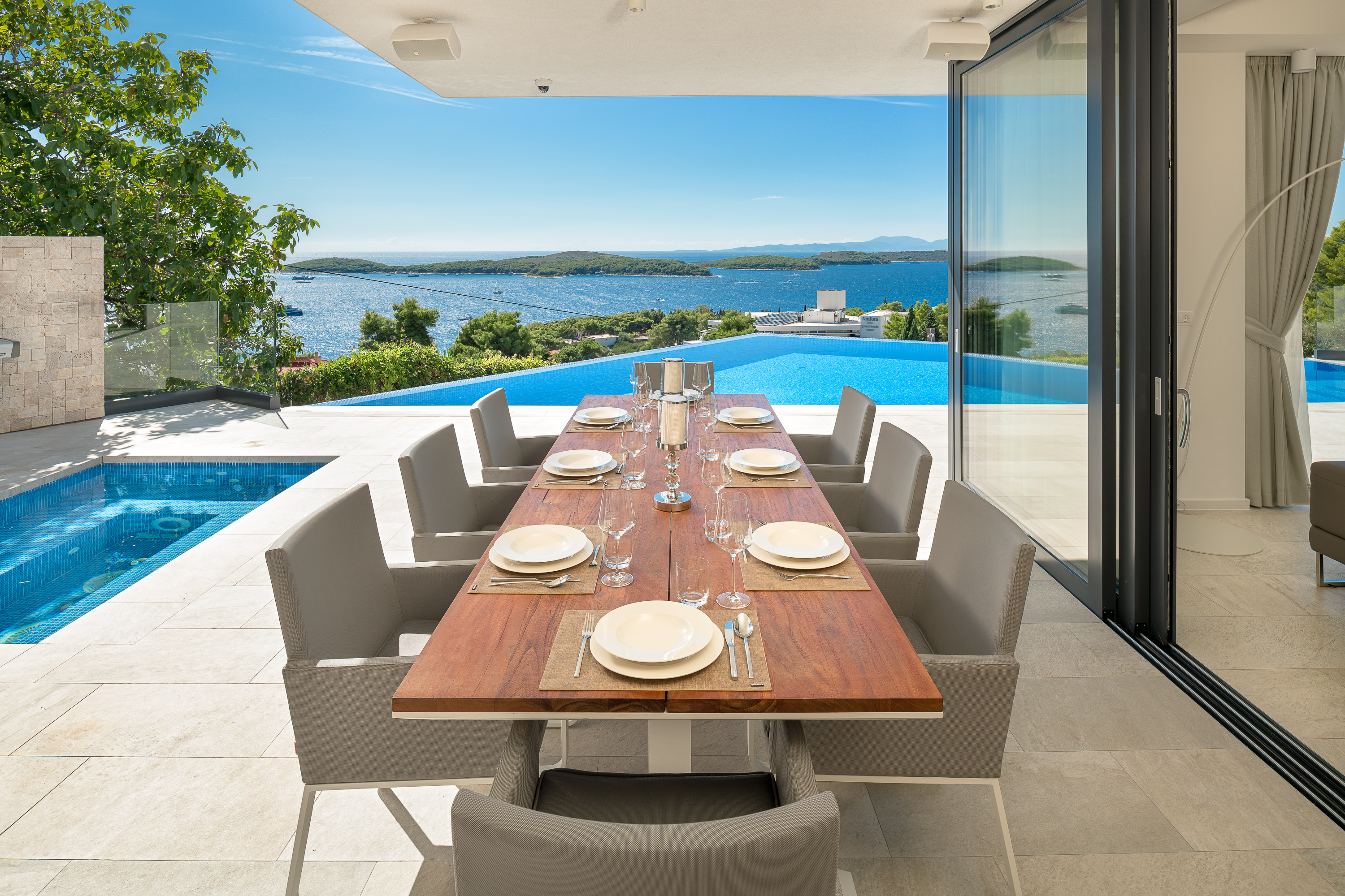 Alfresco dining area, jacuzzi, infinity pool with sea views at Luxury Villa Princess of Hvar with Infinity Pool
