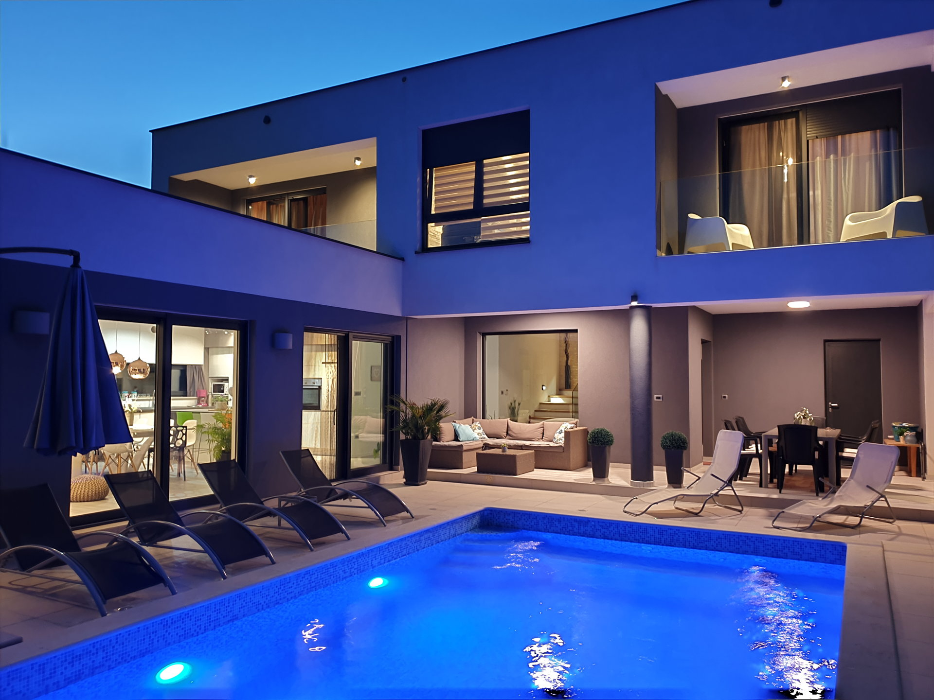 Villa Orchid with Pool in Pula by night