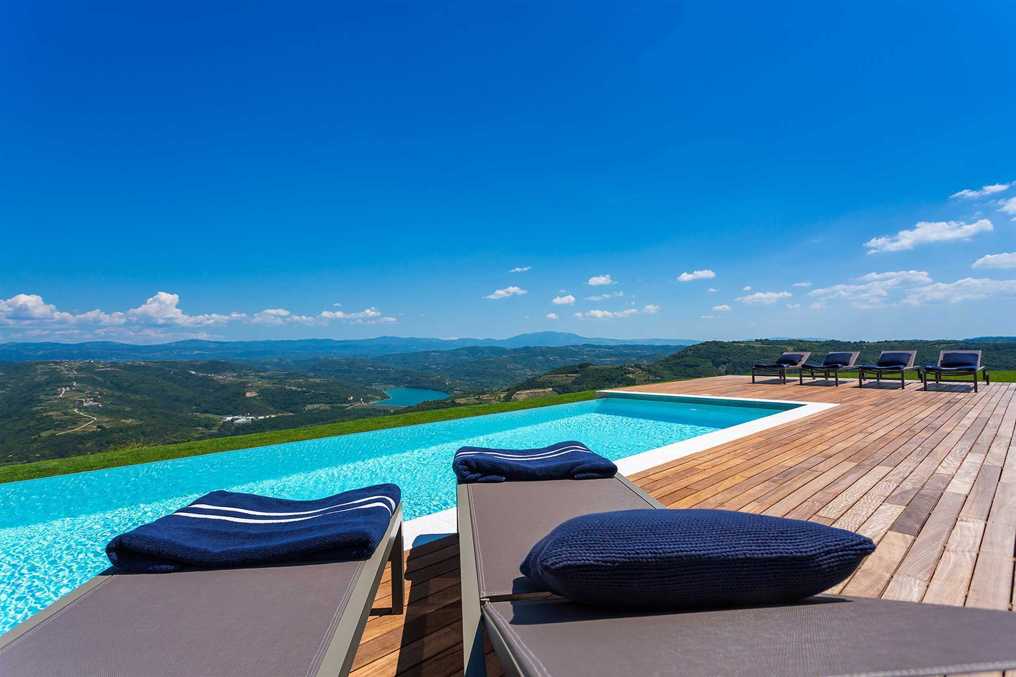 Panoramic view form the pool deck of the luxury Villa Grand Horizon in the Croatian region of Istria