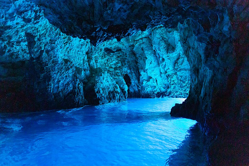 Inside the Blue Cave on Biševo island