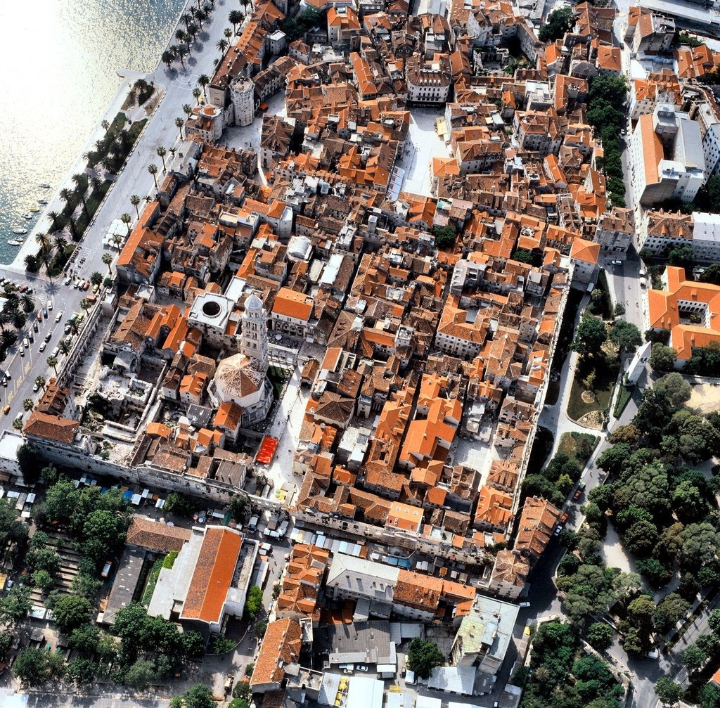 The view from the air of the Diocletian Palace