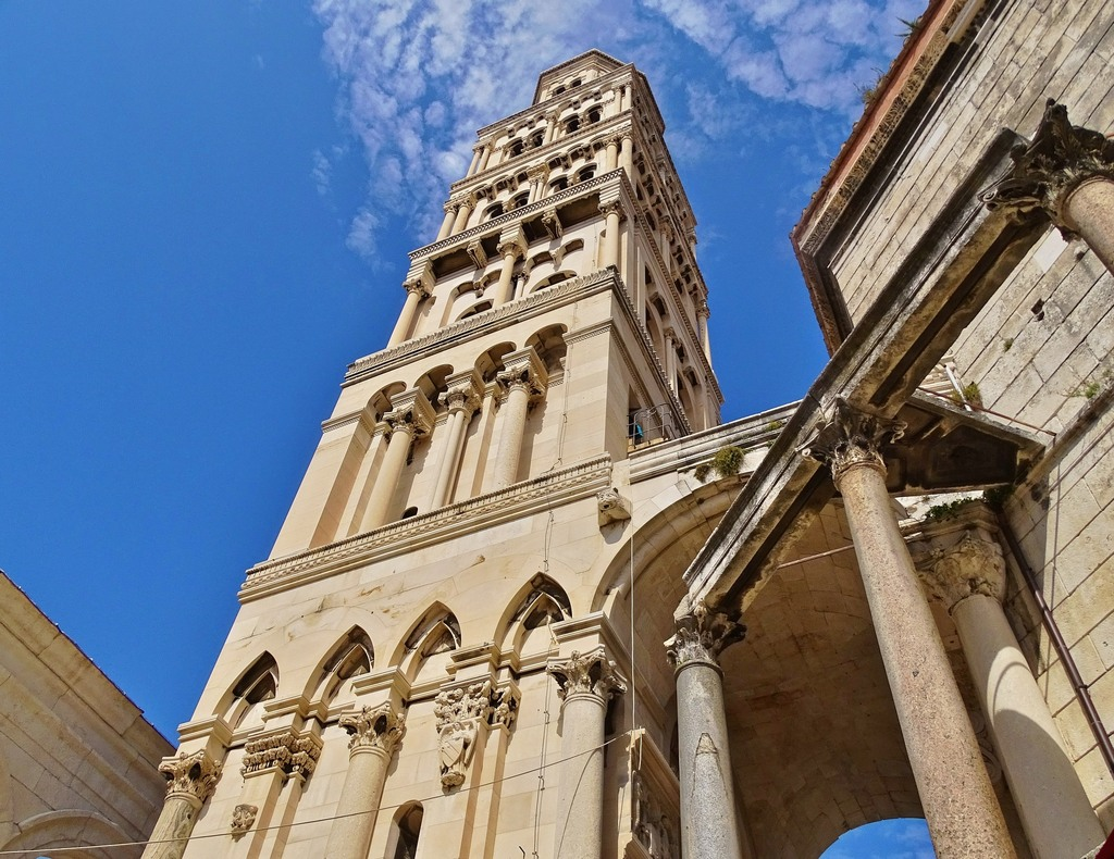 The Belltower of Saint Dominus in Diocletians Palace in Split in Croatia