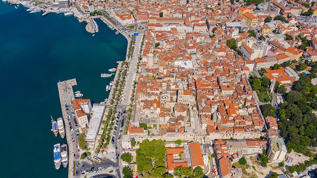 The aerial view of the Diocletians Palace in Split Croatia