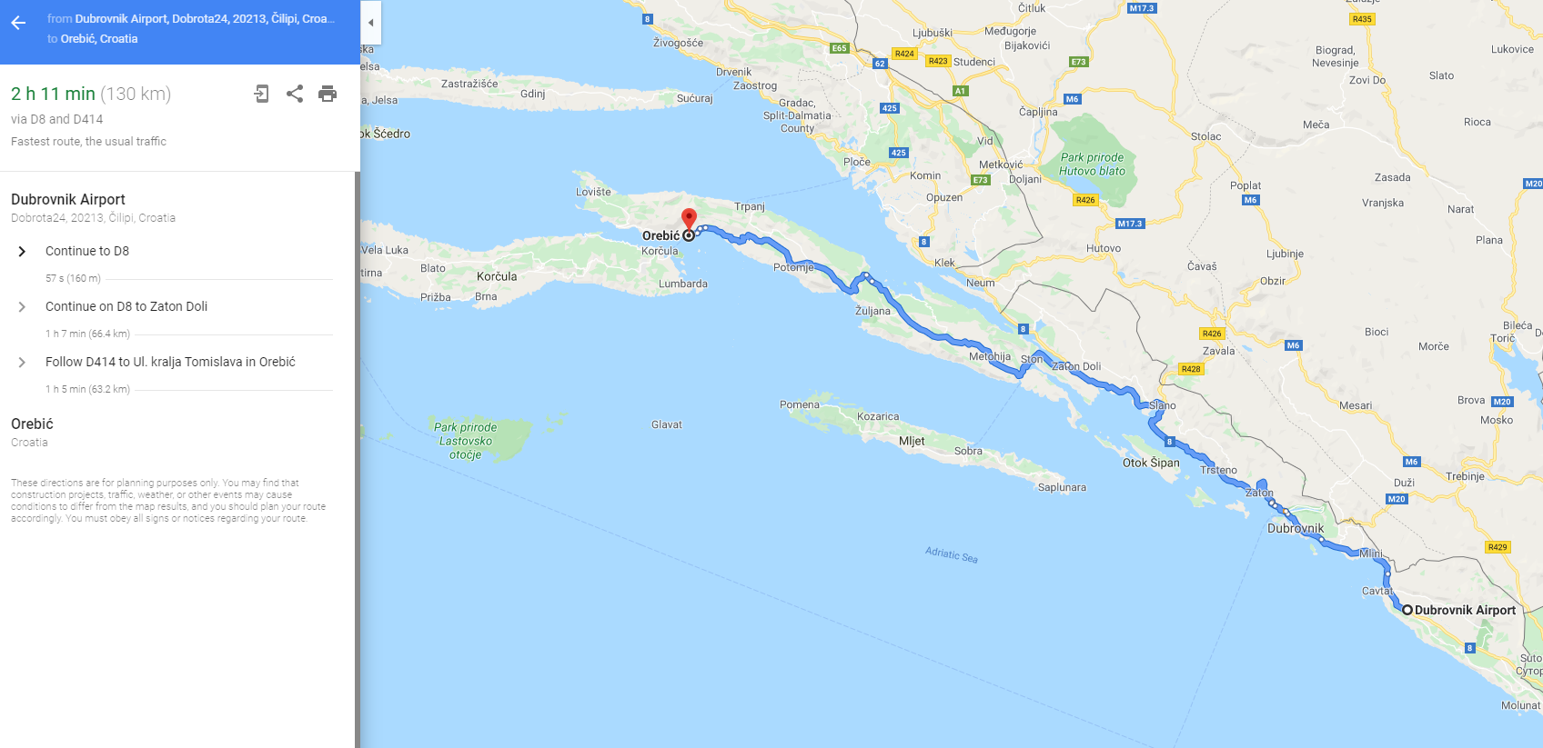 Driving route from Dubrovnik to Orebic on Peljesac peninsula