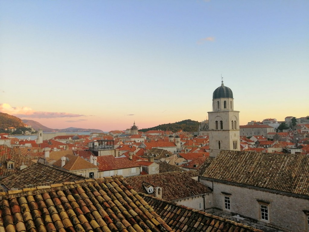 Red roofs in Dubrovnik old town at sunset time