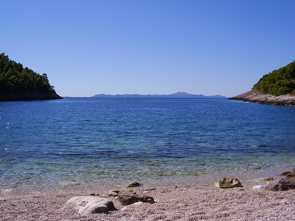 Pupnatska Luka beach on the southern side of Korcula, overlooking Lastovo island