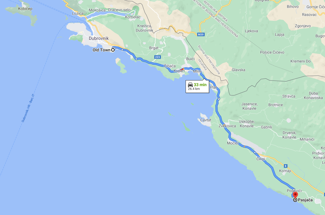 Google maps directions from Dubrovnik Old Town to Pasjaca beach