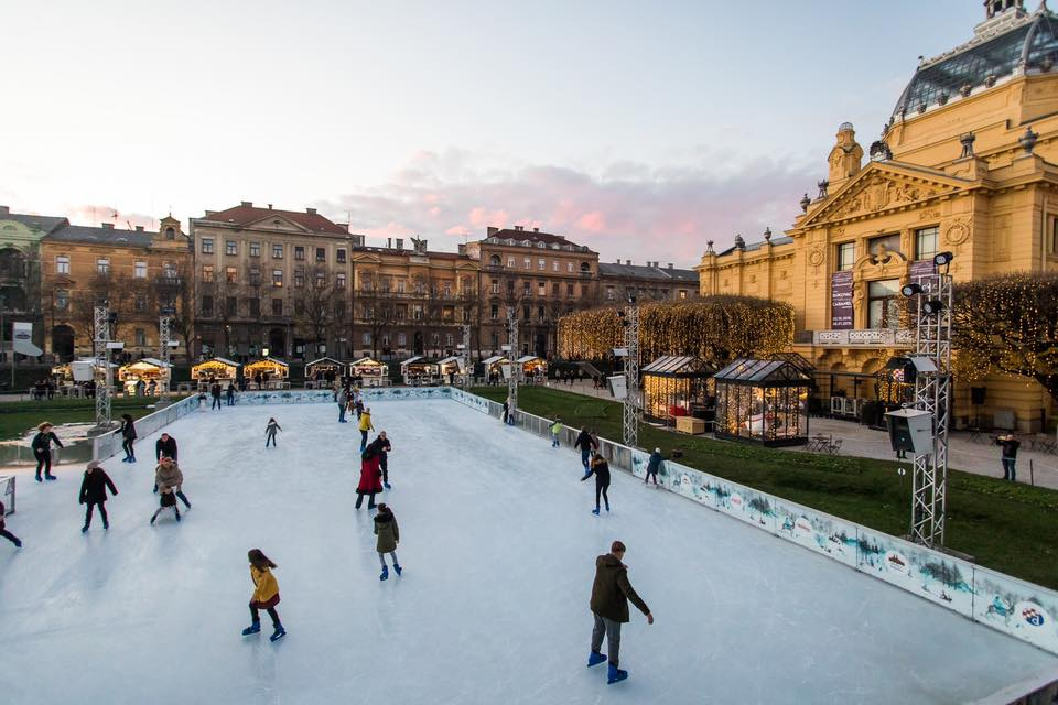 ice park in Zagreb during Christmas fair