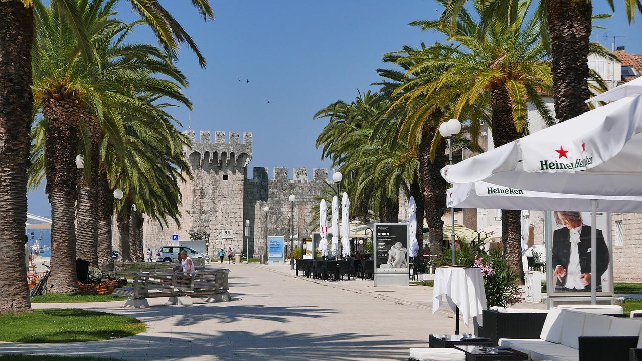 Main waterfront promenade with palmtree