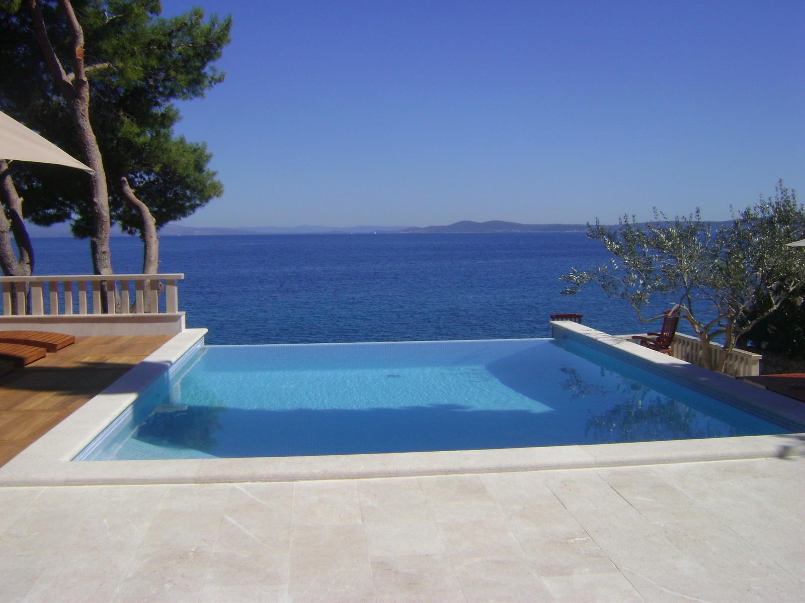 Villa Dream Trogir view across the pool towards the sea