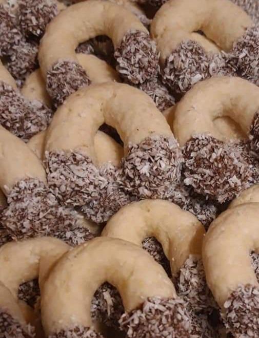 Kokos Kiflici dipped in chocolate