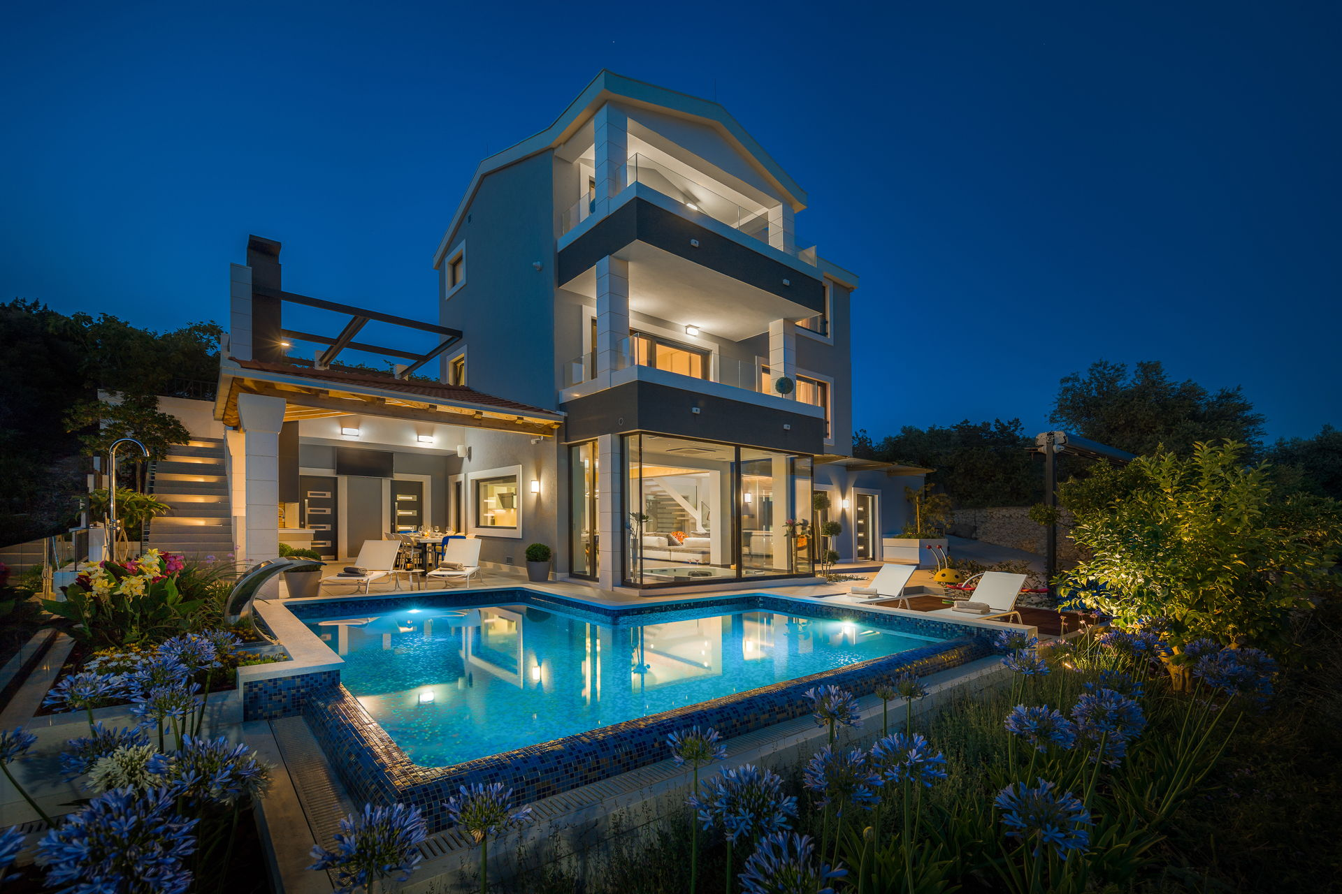 Beachfront Villa Azzurro with Heated Pool