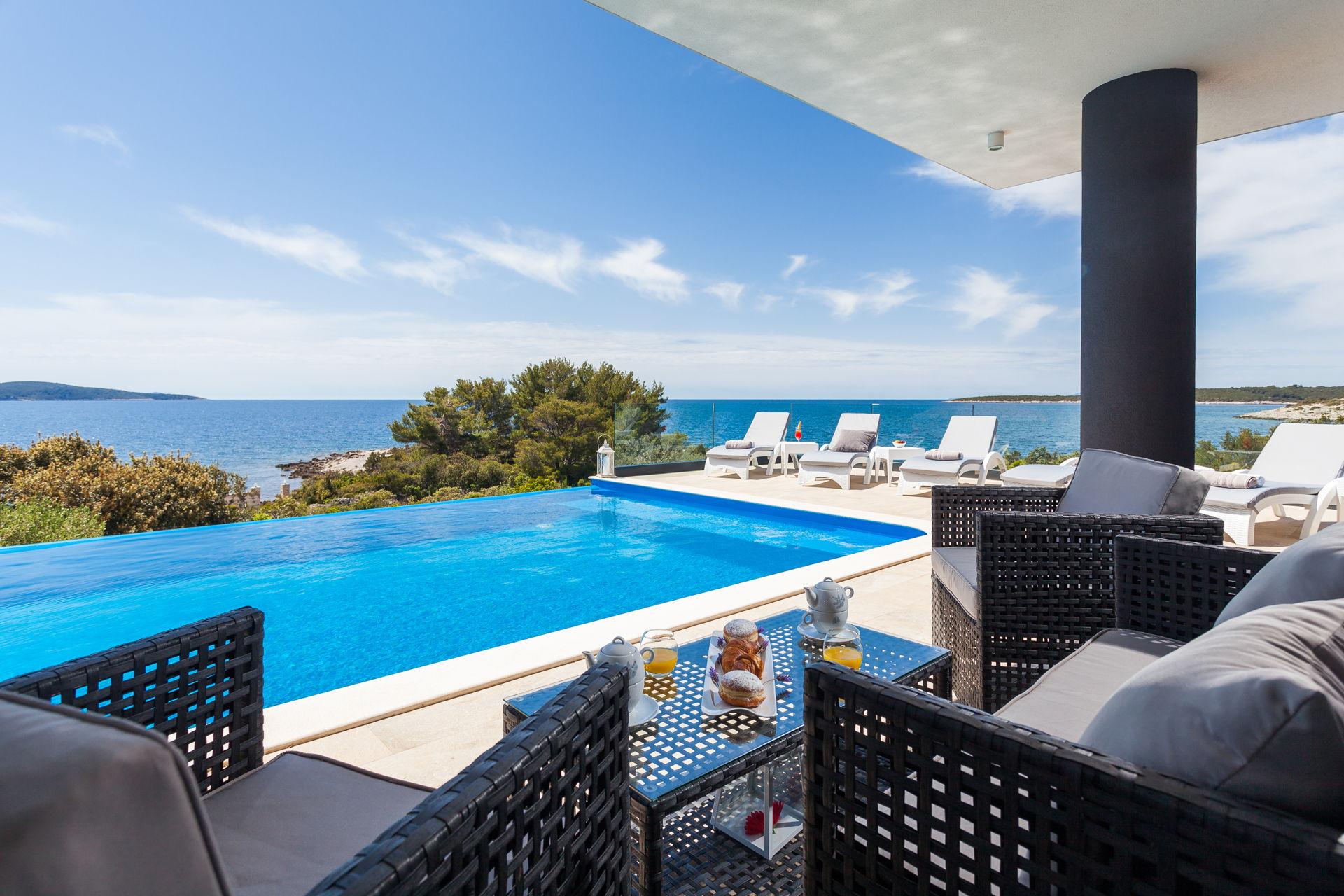 Beachfront Villa Modena with Heated Pool