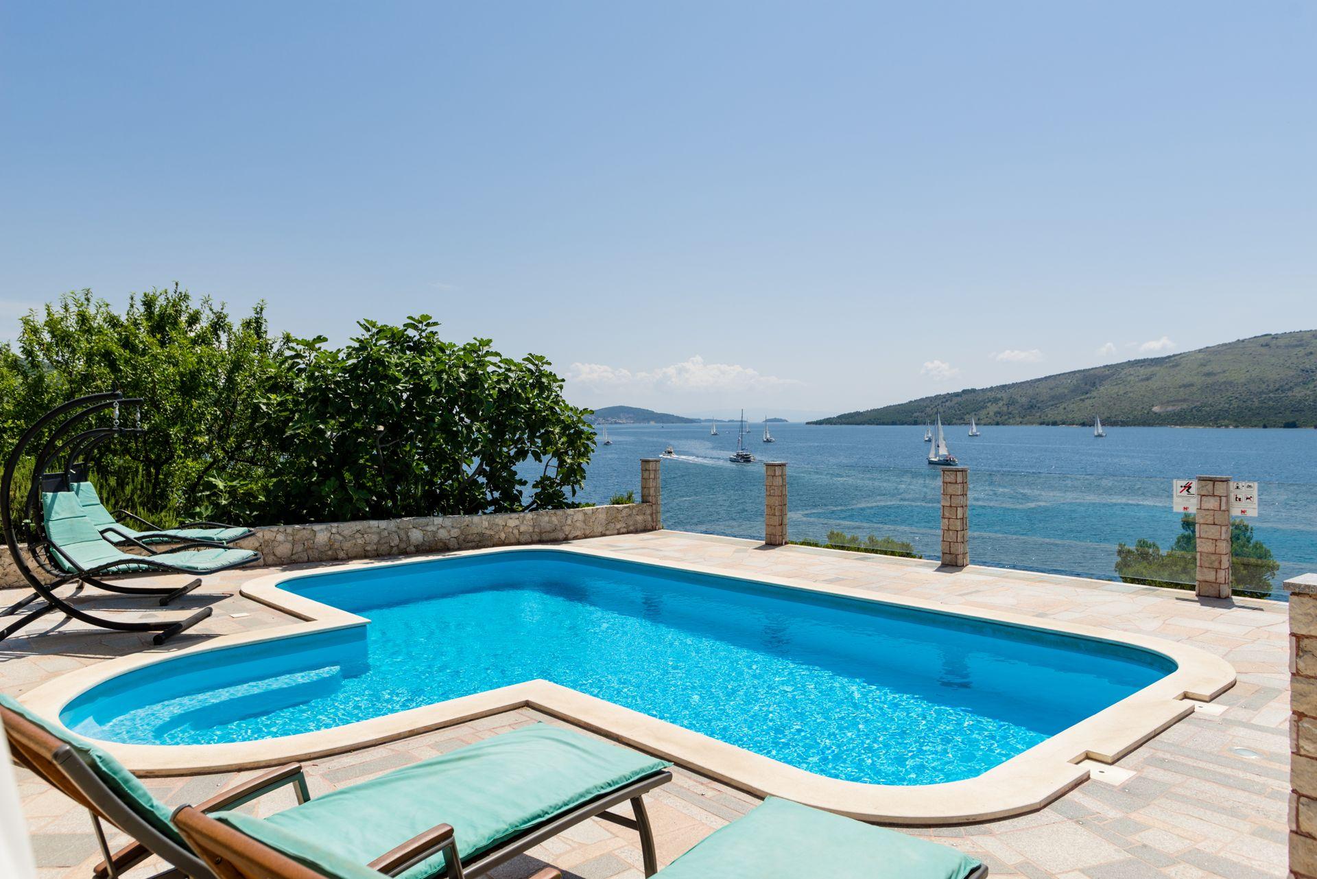 Beachfront Villa Larissa with Pool
