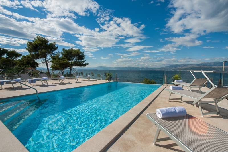 Beachfront Villa Endora with Pool
